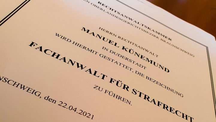 Manuel Künemund jetzt auch Fachanwalt für Strafrecht