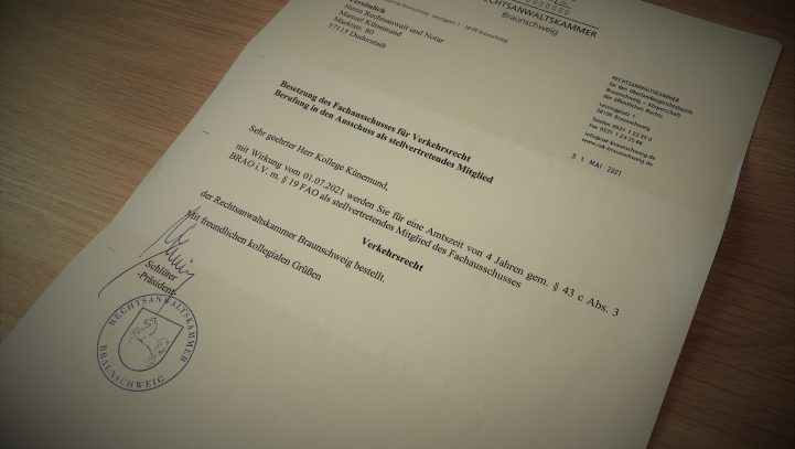 Manuel Künemund verstärkt Fachausschuss für Verkehrsrecht!